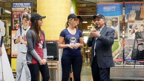 Angie and Kendall are interviewed by Alfonso Fernandez, the Twins Spanish play by play announcer.