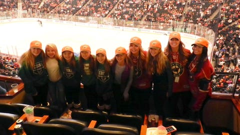 The FOX Sports North Girls and these fans show off their new blaze orange Wild hats. Perfect timing for the upcoming hunting season.