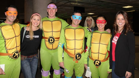 The Teenage Mutant Ninja Turtles showed up at the Bucks opener (complete with a photo bomb by Garth).