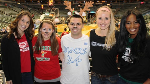 These fans picked out the perfect costumes for a Bucks game.