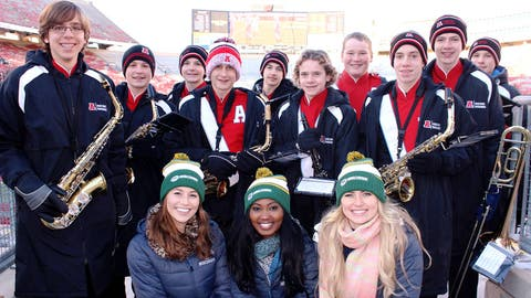 Fans from across the state gathered at Camp Randall to cheer on their teams – including these band members from Arrowhead High School.