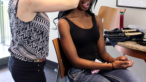 Bishara is excited to have her hair styled for the promo shoot.