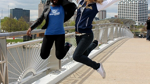 Bishara & Chyna are jumping for joy to shoot promos on Milwaukee's lakefront.
