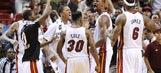 Birthday boy Bosh blocks Blazers' final shot to help back up criticism