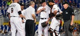 Marlins' Anthony DeSclafani leaves game with forearm contusion, listed as day to day