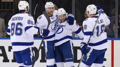 Win 9: Lightning 6, Rangers 2 (series tied 1-1)