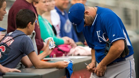 Mike Moustakas with Kansas City Royals fans