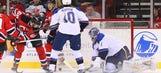 Recap: Fayne, Carter spark Devils over Blues 7-1
