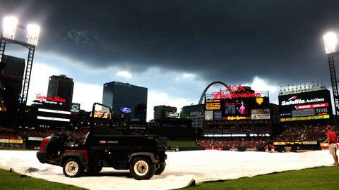 Rain delay at Busch Stadium