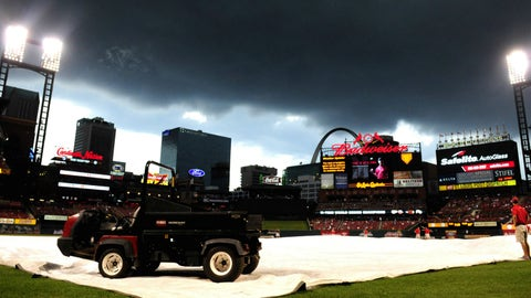 Rain delay at Busch Stadium