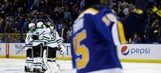 Blues drop Game 4 3-2 in OT as Stars even series