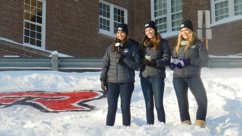Angie and Kendall, along with Sage of the FOX Sports Wisconsin Girls, shoot a segment at the Handke Pit.