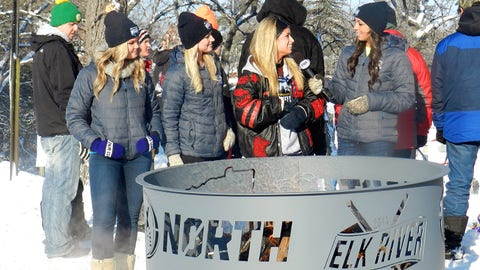 Kaylin interviews the Elk River High School student who designed the Hockey Day fire pits.