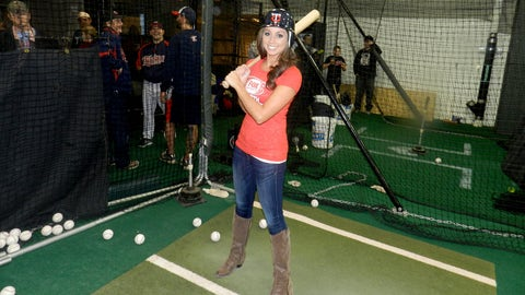 Kaylin takes a few cuts in the Twins batting cages