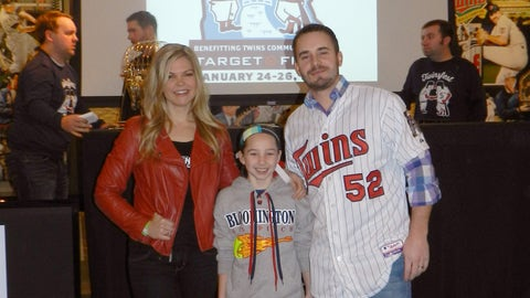 FOX Sports North Girl Kendall with a young fan and Twins pitcher Brian Duensing