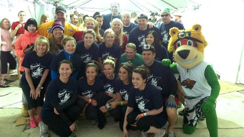 The FOX Sports North Girls, along with Kevin Gorg, Mike Greenlay, Jamie Hersch, Tom Chorske, Nordy, and FOX Sports North staff and fans participated in the Special Olympics of Minnesota Polar Plunge.