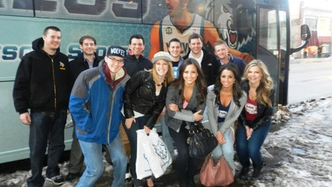 At halftime the FOX Sports North Girls and fans alike boarded the FOX Sports North Fan Express for the second stop - Cooper Irish Pub in Saint Louis Park. ,