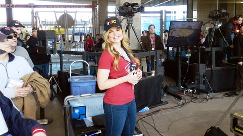 Kendall hangs out on the set of Twins Live before the game.