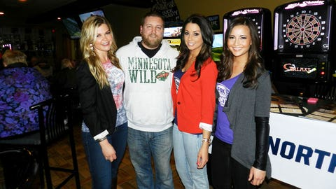 Hanging out with fans at Drkula's Bowl. We're busy cheering for both the Wild and Twins!
