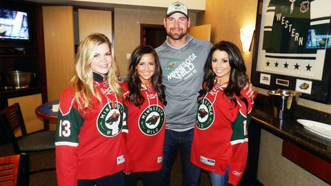 Look who we found! It's Minnesota Twins pitcher Mike Pelfrey showing his support for the Wild!