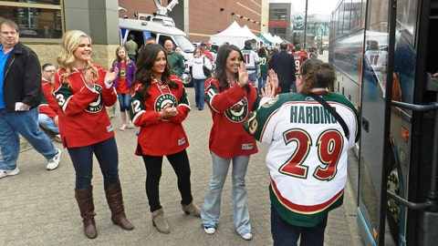 We're greeting Wild season ticket holders as they arrive at the Xcel Energy Center for game 3 of the series with the Blackhawks.