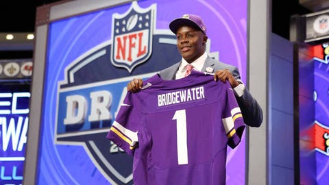 Vikings trade up to select Teddy Bridgewater in first round of draft, just fourth QB they've ever taken in first round