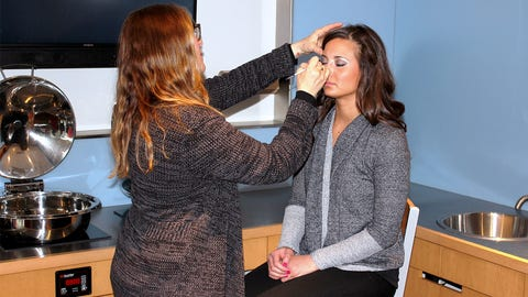 Angie relaxes in the makeup chair before the FOX Sports North Girls promo shoot at Target Field.