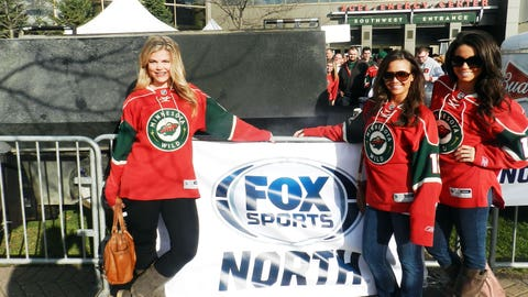 Enjoying the beautiful weather outside the Xcel Energy Center.