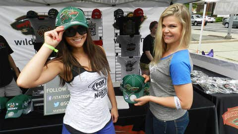 The FOX Sports North Girls had to make a stop at the Wild booth. Check out these awesome hats!