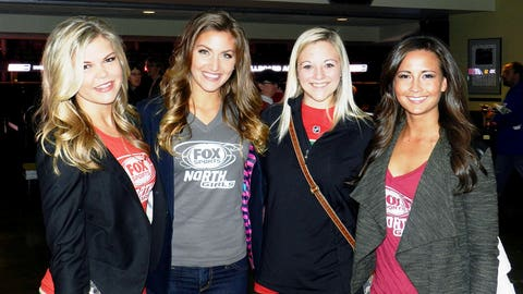 The FOX Sports North Girls meet with fans during the Wild Viewing Party at the Xcel Energy Center.