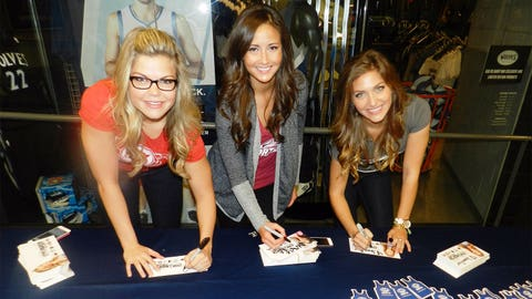 The FOX Sports North Girls sign autographs and meet with fans at the Timberwolves Home Opener Skyway Breakfast.