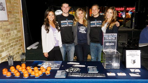 The Timberwolves promotional team joined forces with the FOX Sports North Girls. Fans had the chance to register for a basketball signed by the entire team!
