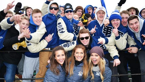 The FOX Sports North Girls visit the St. Thomas Academy fan section before the 2nd outdoor game of the day.