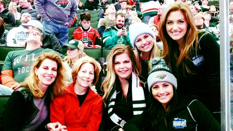 Kendall, Chyna, Angie & Jennifer take in the Wild game with two very lucky fans who won tickets at Holman Field. It was a great day for Minnesota Hockey with both the Gophers and the Wild picking up W's.