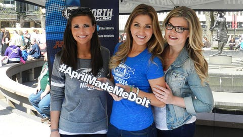 The FOX Sports North Girls geared up for the NHL post season at the Minnesota Wild Playoff Pep Rally in Rice Park Thursday.