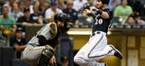 Lucroy, Brewers continue to have Pirates' number, win 9-4