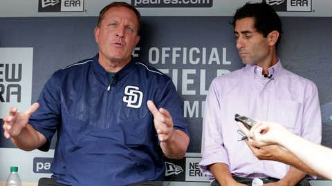 Pat Murphy and AJ Preller talk to the media