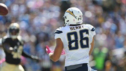 Hunter Henry, TE, Chargers (concussion): Questionable