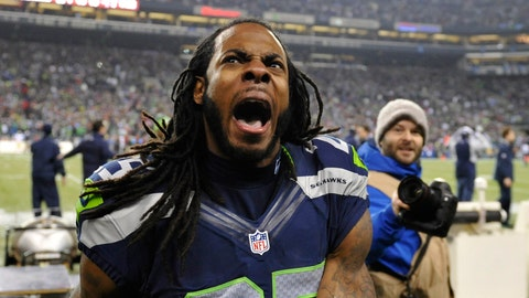 Will Richard Sherman be interviewed on field after the game by Erin Andrews on the live FOX broadcast and shown on TV?