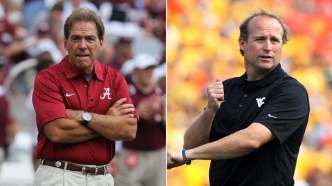 No. 2 Alabama vs. West Virginia, Saturday, 3:30 p.m. ET, ABC/ESPN2