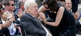 Saints owner Tom Benson moved to tears by statue dedication