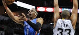 Russell Westbrook takes hard hit in Thunder's blowout loss to Spurs