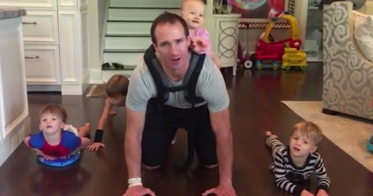 Drew Brees Does Pushups With Daughter Strapped To His Back