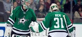 Who will start in net for Stars in Game 3 against Blues?