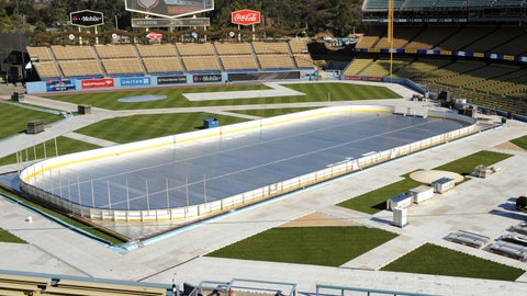 A general view of preparation for the 2014 Coors Light NHL Stadium Series game on January 16, 2014 at Dodger Stadium.