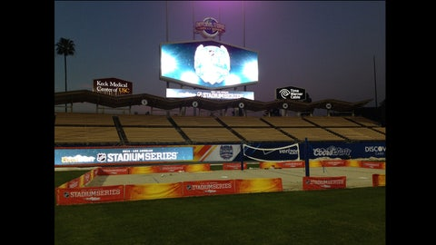 A general view of preparation for the 2014 Coors Light NHL Stadium Series game on January 22, 2014 at Dodger Stadium.