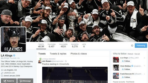 LA Kings Twitter account & social media