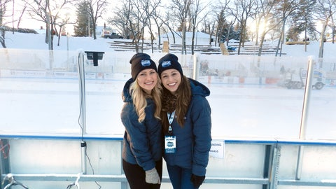 Chyna and Sage help the FOX Sports North Girls celebrate Hockey Day Minnesota.