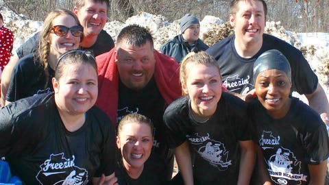 The whole FOX Sports Wisconsin team is all smiles after surviving the plunge.