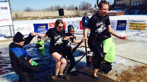 Chyna, Bishara and Special Olympics Director of Communication, Christina Harris, can't get out of the water fast enough!